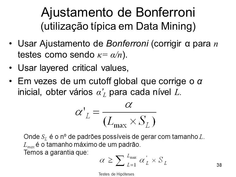 Ajustamento de Bonferroni (utilização típica em Data Mining)