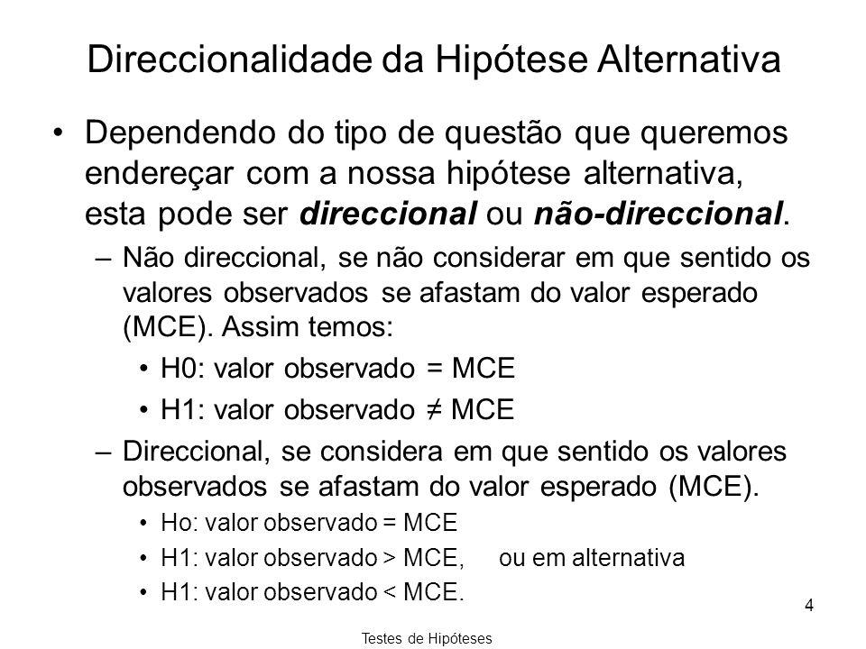 Direccionalidade da Hipótese Alternativa