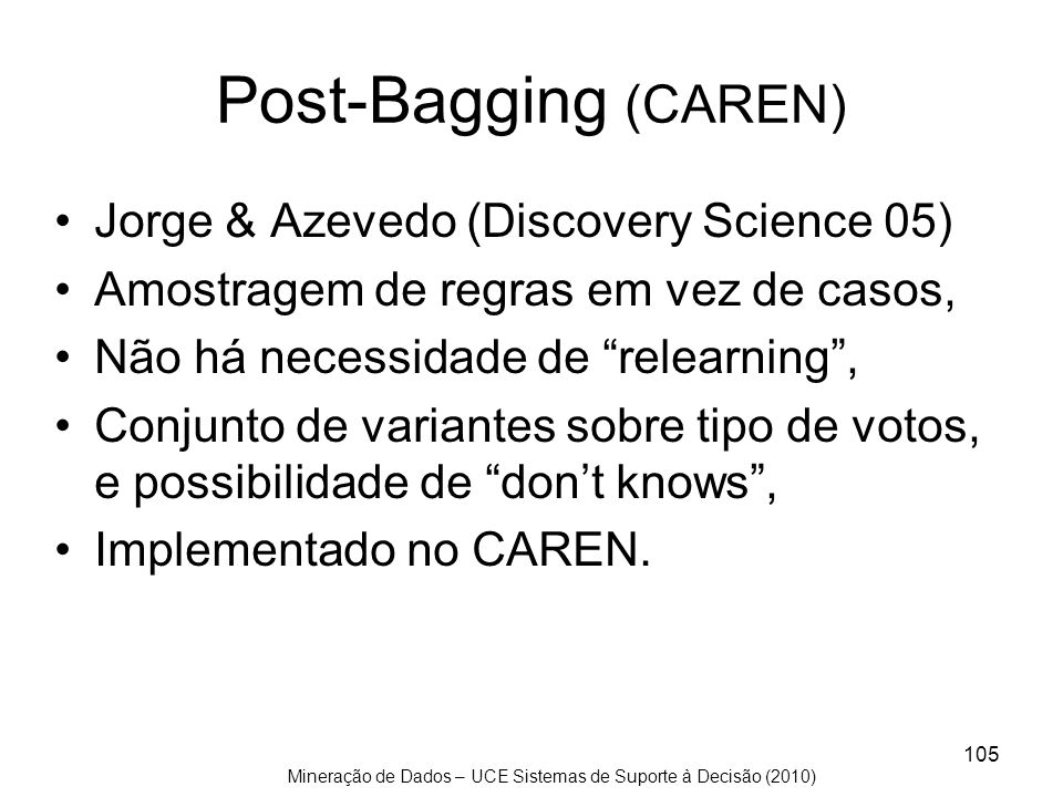 Post-Bagging (CAREN) Jorge & Azevedo (Discovery Science 05)