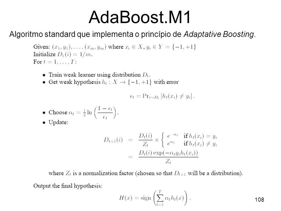 AdaBoost.M1 Algoritmo standard que implementa o princípio de Adaptative Boosting.