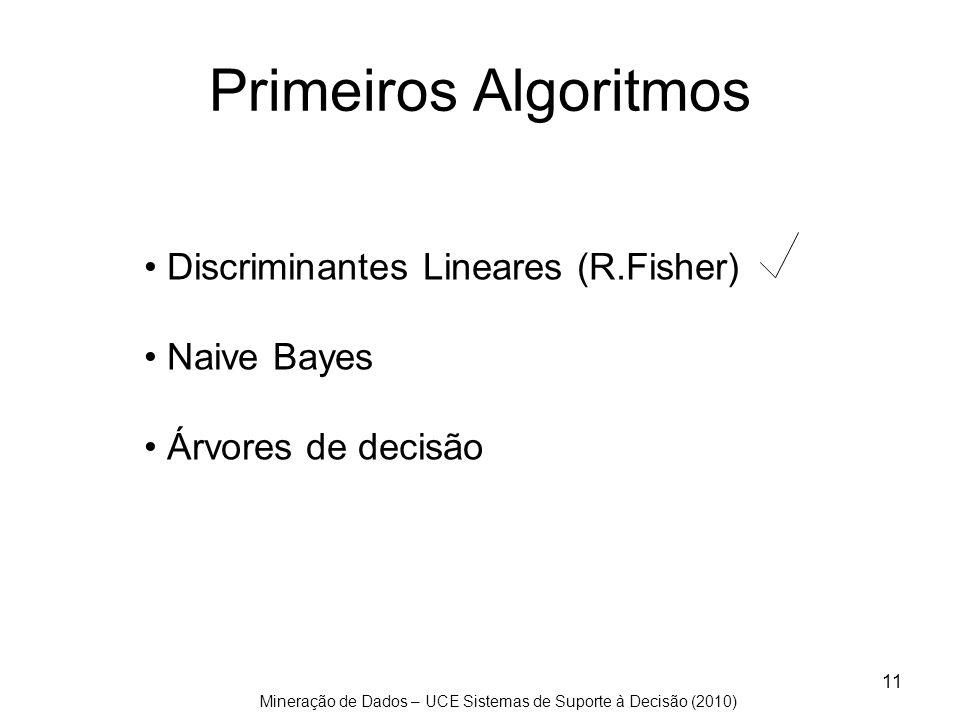 Primeiros Algoritmos Discriminantes Lineares (R.Fisher) Naive Bayes