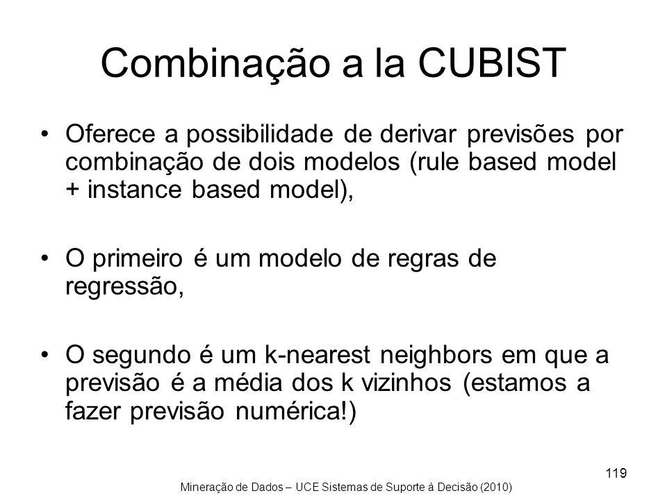 Combinação a la CUBIST Oferece a possibilidade de derivar previsões por combinação de dois modelos (rule based model + instance based model),