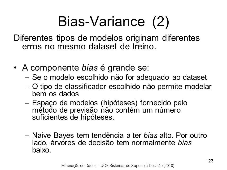 Bias-Variance (2) Diferentes tipos de modelos originam diferentes erros no mesmo dataset de treino.