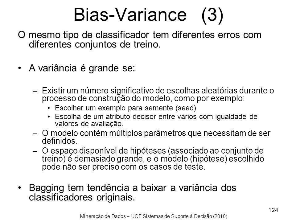Bias-Variance (3)O mesmo tipo de classificador tem diferentes erros com diferentes conjuntos de treino.