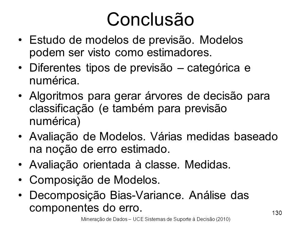 Conclusão Estudo de modelos de previsão. Modelos podem ser visto como estimadores. Diferentes tipos de previsão – categórica e numérica.
