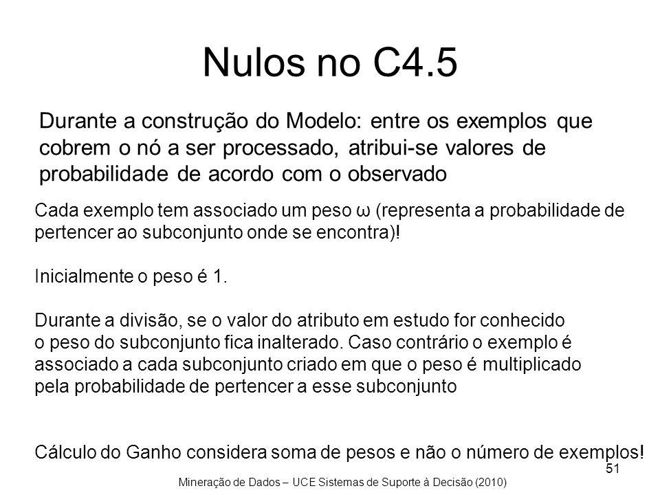 Nulos no C4.5 Durante a construção do Modelo: entre os exemplos que