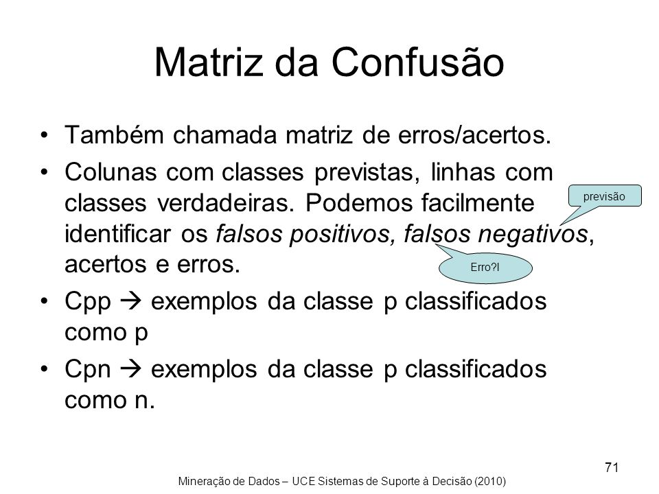 Matriz da Confusão Também chamada matriz de erros/acertos.