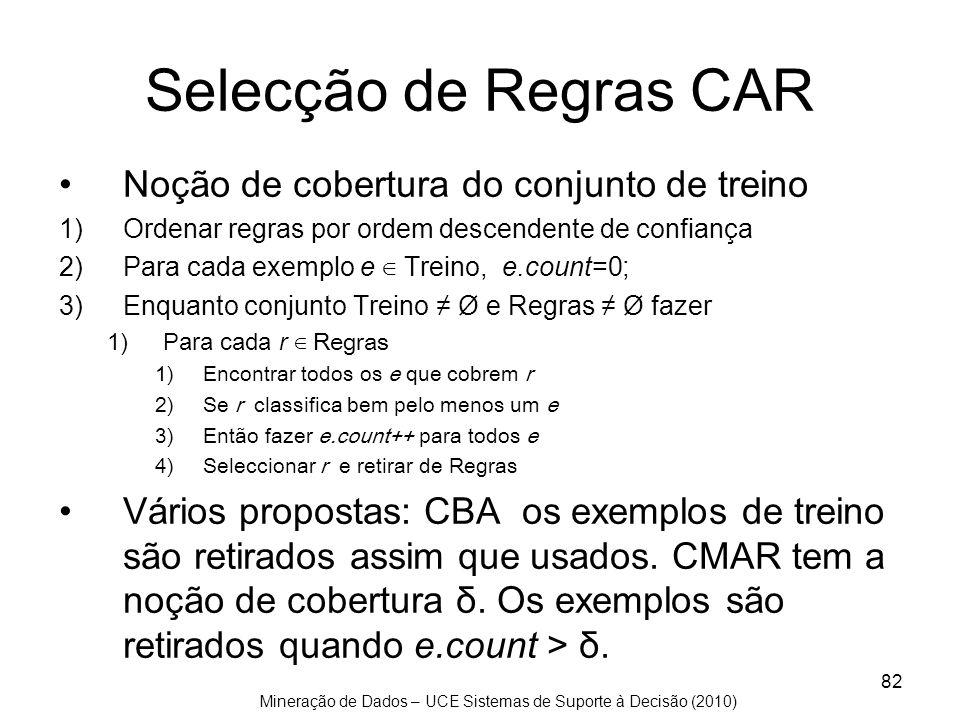 Selecção de Regras CAR Noção de cobertura do conjunto de treino