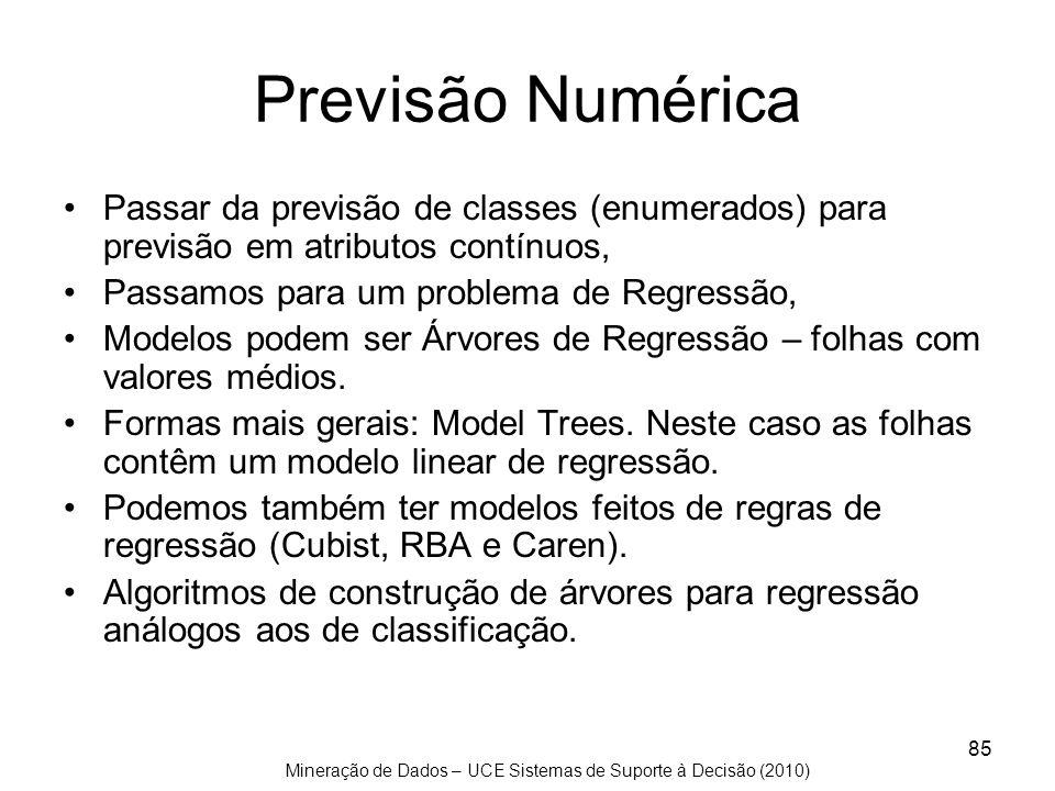 Previsão Numérica Passar da previsão de classes (enumerados) para previsão em atributos contínuos, Passamos para um problema de Regressão,