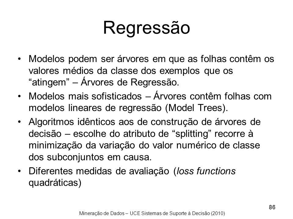 Regressão Modelos podem ser árvores em que as folhas contêm os valores médios da classe dos exemplos que os atingem – Árvores de Regressão.