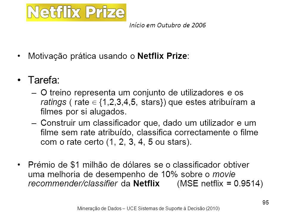 Tarefa: Motivação prática usando o Netflix Prize: