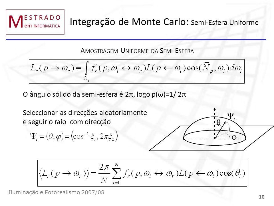 Integração de Monte Carlo: Semi-Esfera Uniforme