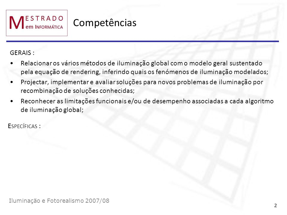 CompetênciasGERAIS :