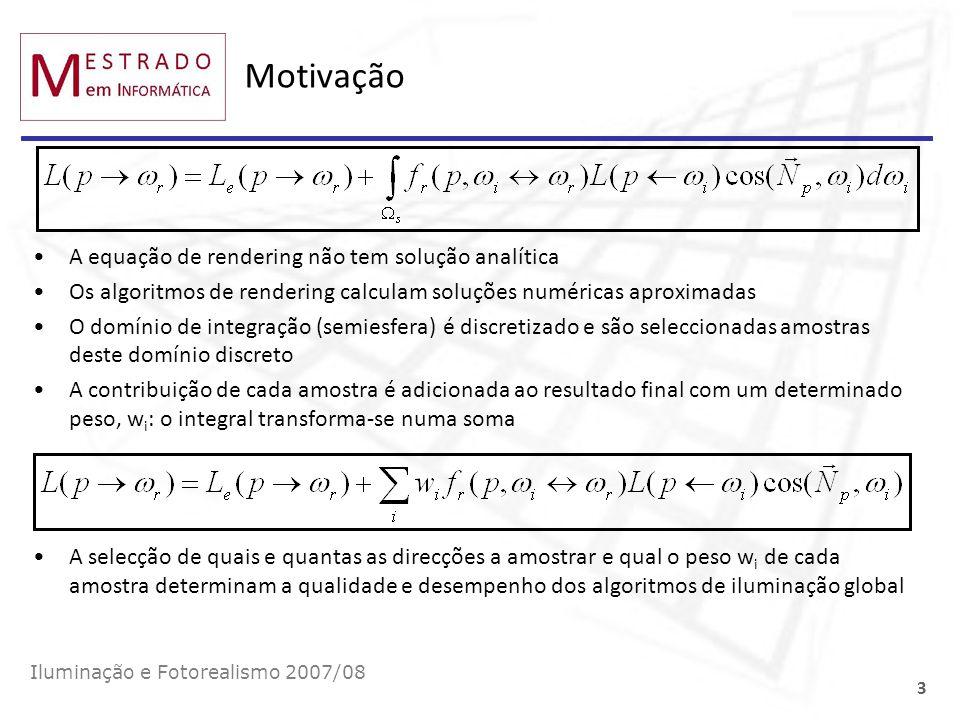 Motivação A equação de rendering não tem solução analítica