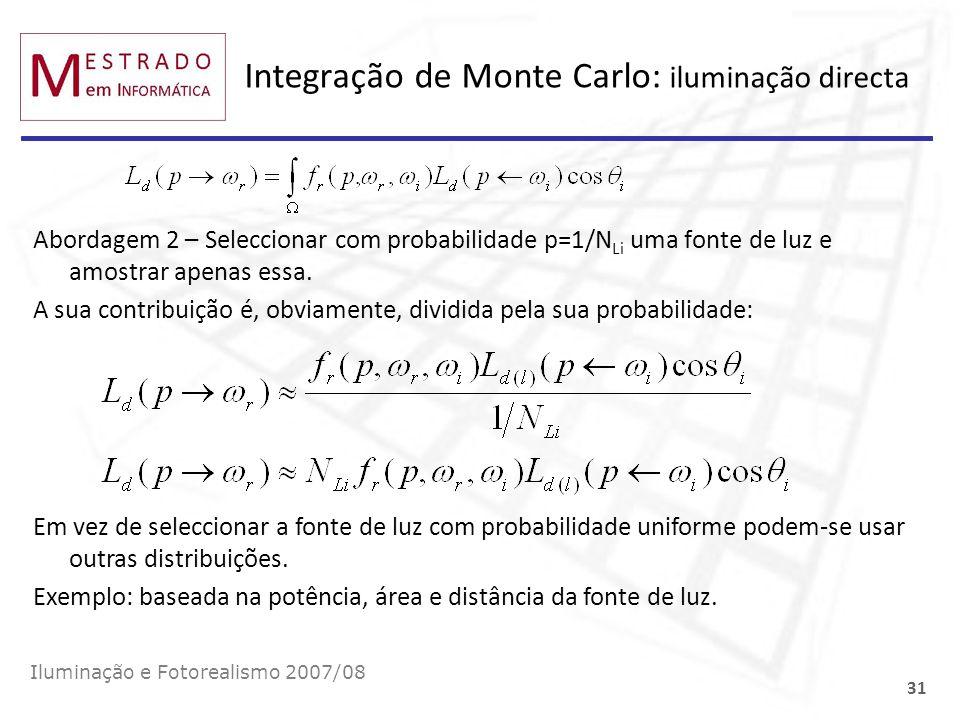 Integração de Monte Carlo: iluminação directa