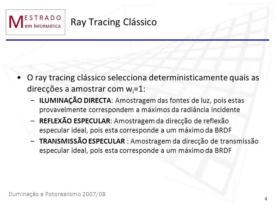 Ray Tracing Clássico O ray tracing clássico selecciona deterministicamente quais as direcções a amostrar com wi=1: