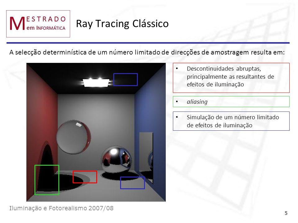 Ray Tracing Clássico A selecção determinística de um número limitado de direcções de amostragem resulta em:
