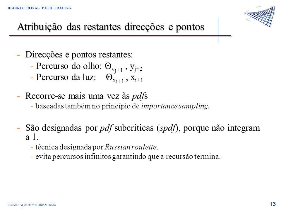 Atribuição das restantes direcções e pontos
