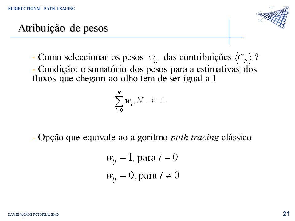 Atribuição de pesos Como seleccionar os pesos das contribuições
