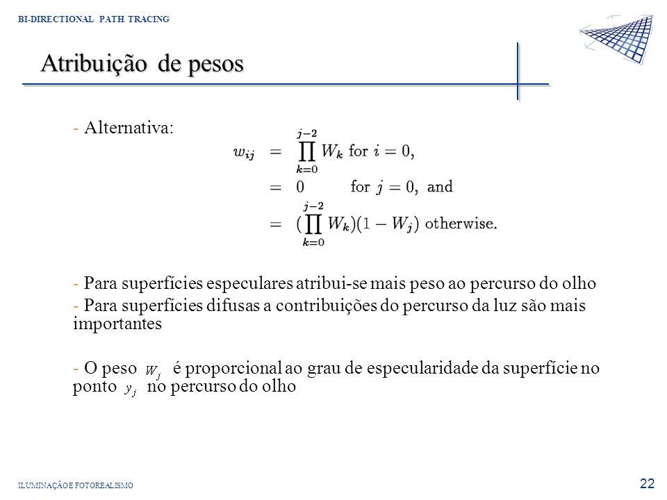 Atribuição de pesos Alternativa: