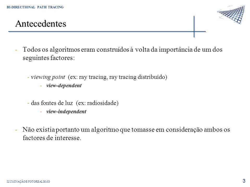 AntecedentesTodos os algoritmos eram construídos à volta da importância de um dos seguintes factores: