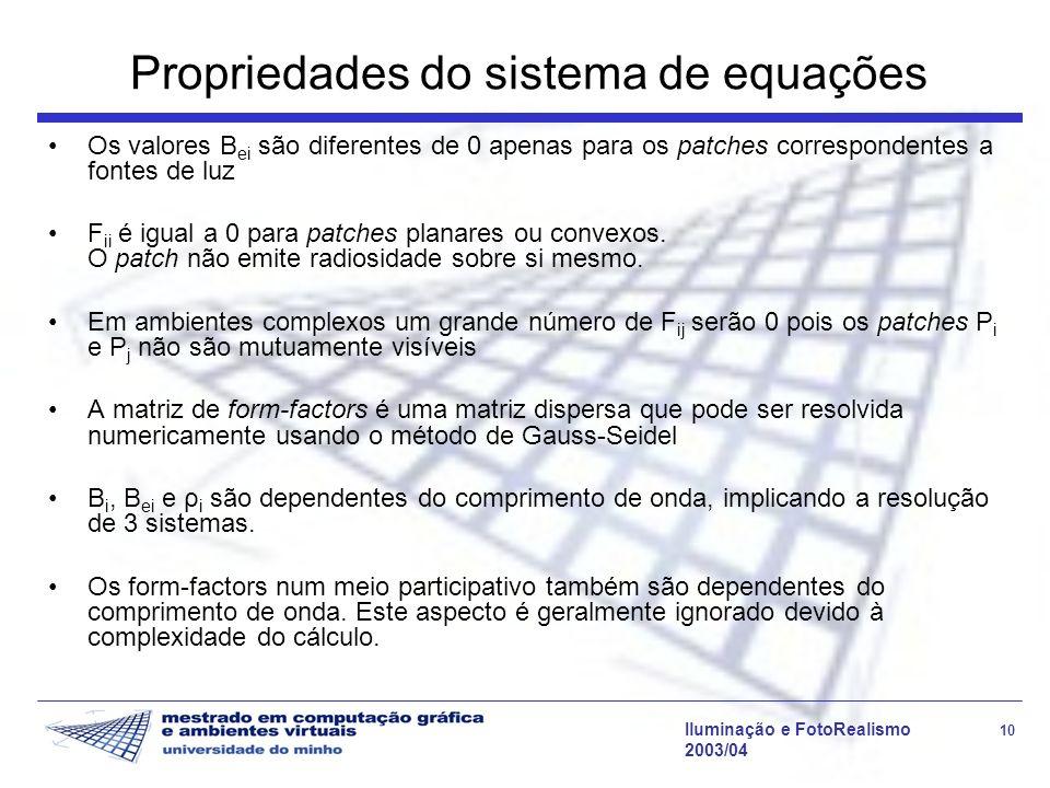 Propriedades do sistema de equações