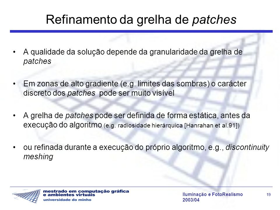 Refinamento da grelha de patches