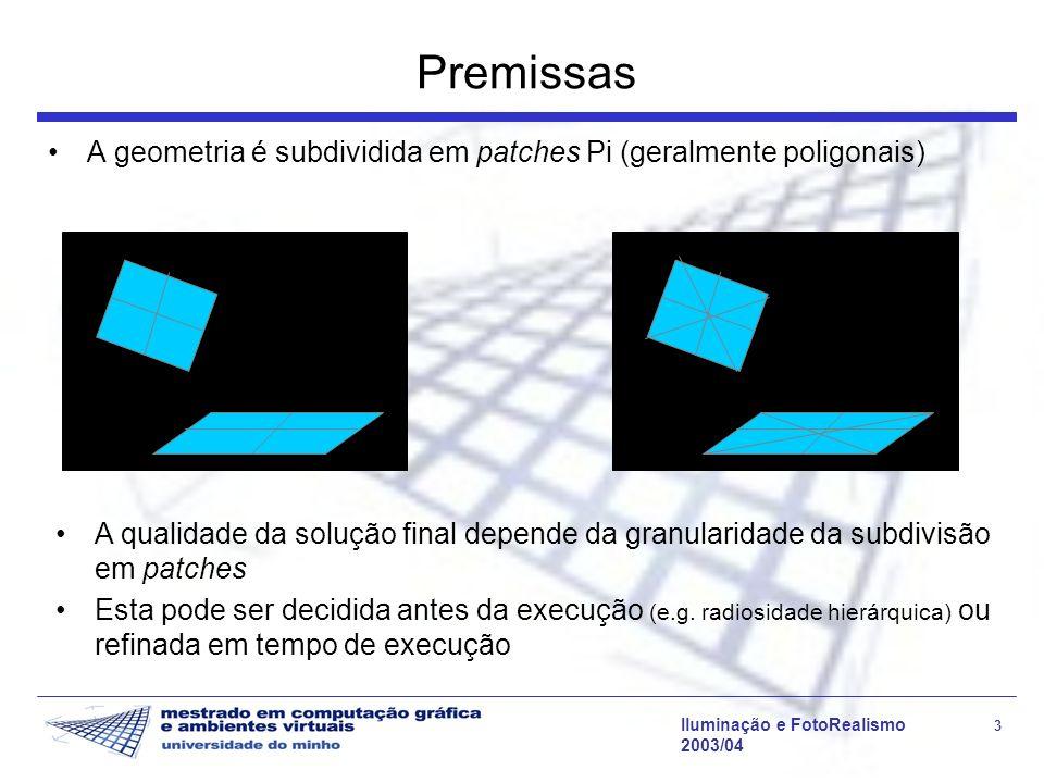 Premissas A geometria é subdividida em patches Pi (geralmente poligonais)