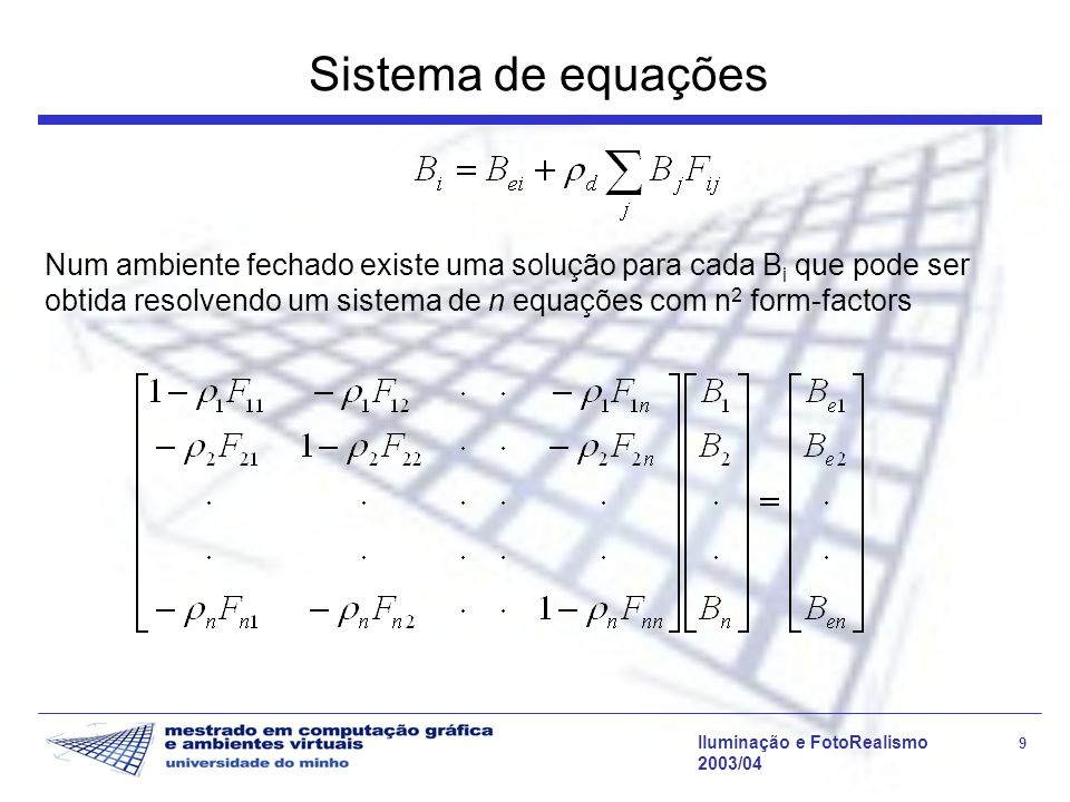 Sistema de equações Num ambiente fechado existe uma solução para cada Bi que pode ser obtida resolvendo um sistema de n equações com n2 form-factors.