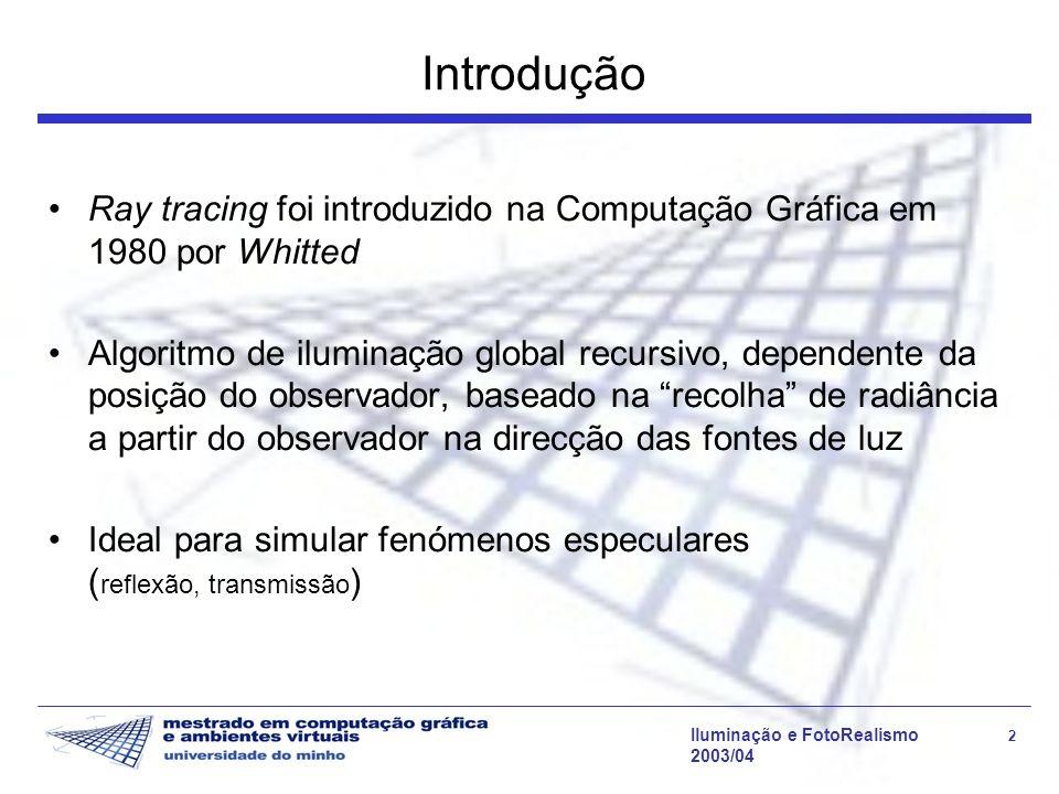 Introdução Ray tracing foi introduzido na Computação Gráfica em 1980 por Whitted.