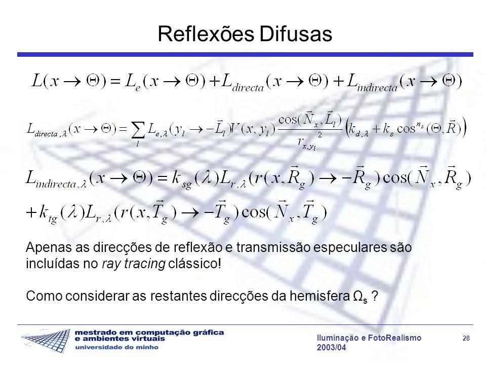 Reflexões Difusas Apenas as direcções de reflexão e transmissão especulares são incluídas no ray tracing clássico!