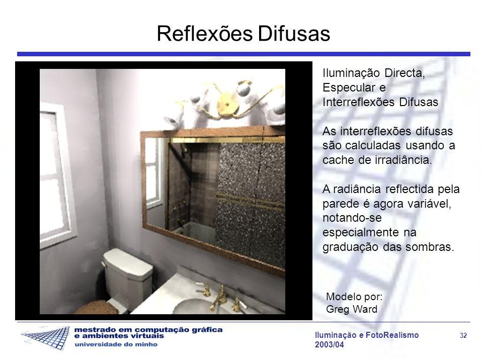 Reflexões Difusas Iluminação Directa, Especular e Interreflexões Difusas. As interreflexões difusas são calculadas usando a cache de irradiância.