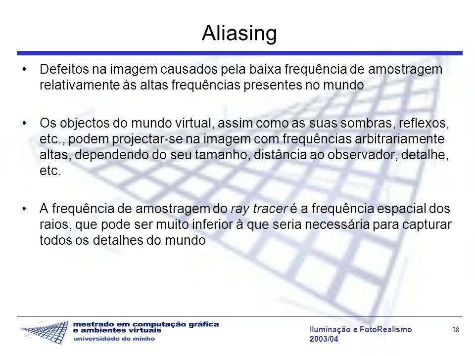 Aliasing Defeitos na imagem causados pela baixa frequência de amostragem relativamente às altas frequências presentes no mundo.