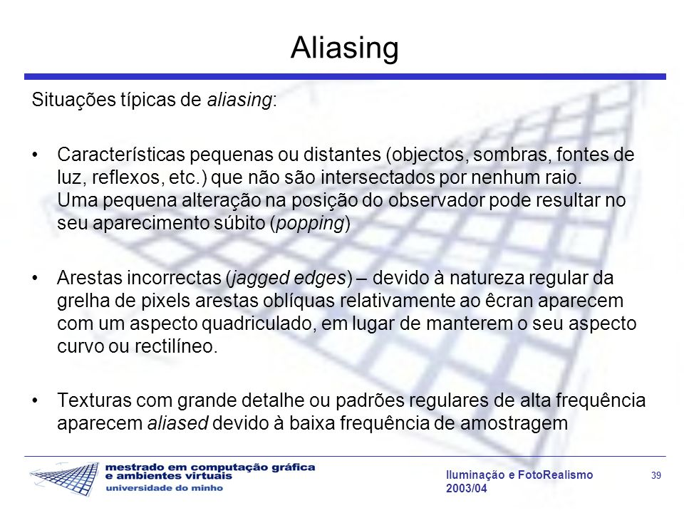 Aliasing Situações típicas de aliasing: