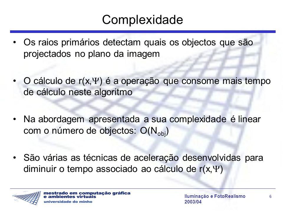 Complexidade Os raios primários detectam quais os objectos que são projectados no plano da imagem.