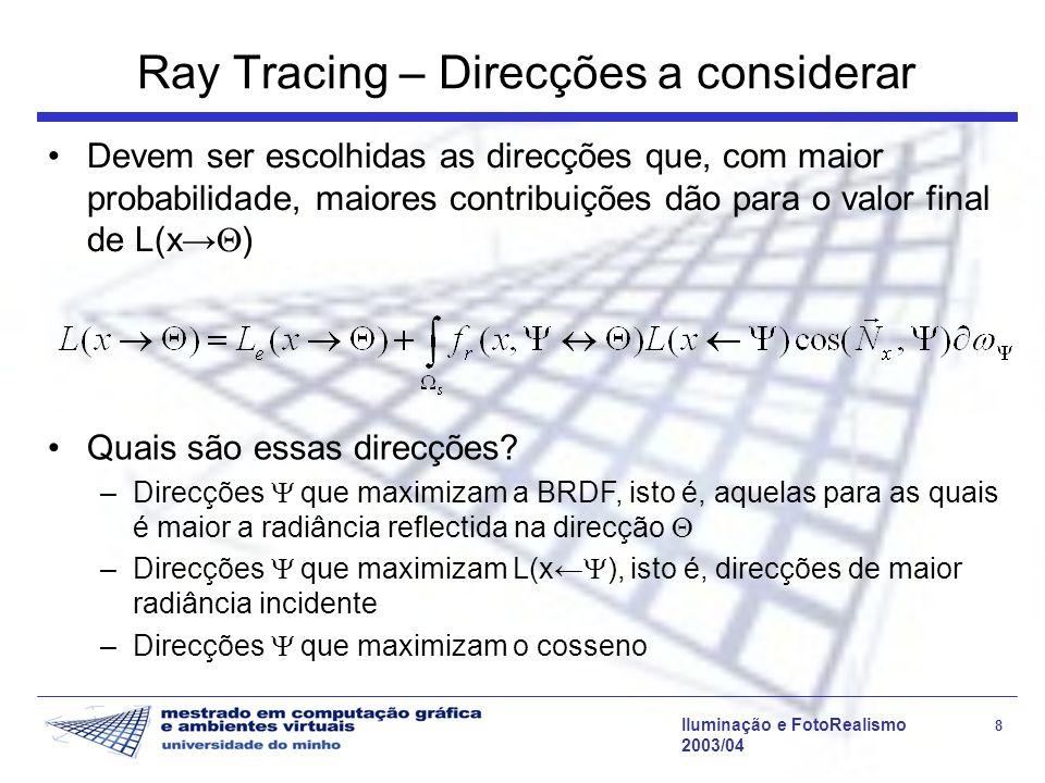 Ray Tracing – Direcções a considerar