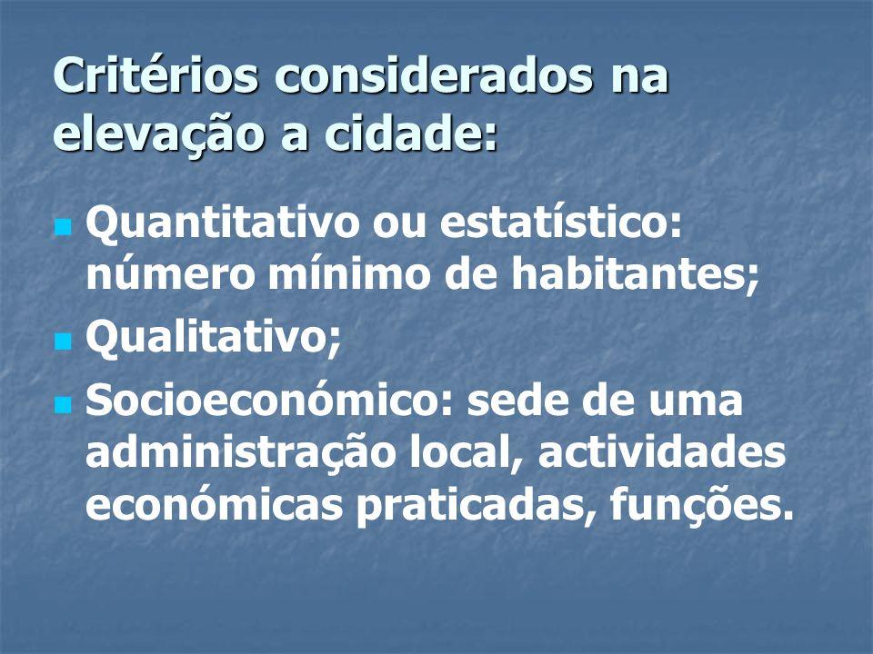 Critérios considerados na elevação a cidade: