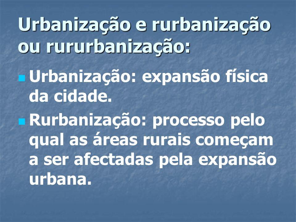 Urbanização e rurbanização ou rururbanização: