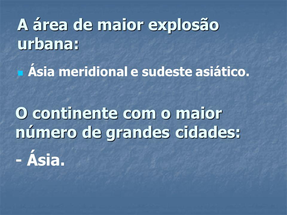 A área de maior explosão urbana: