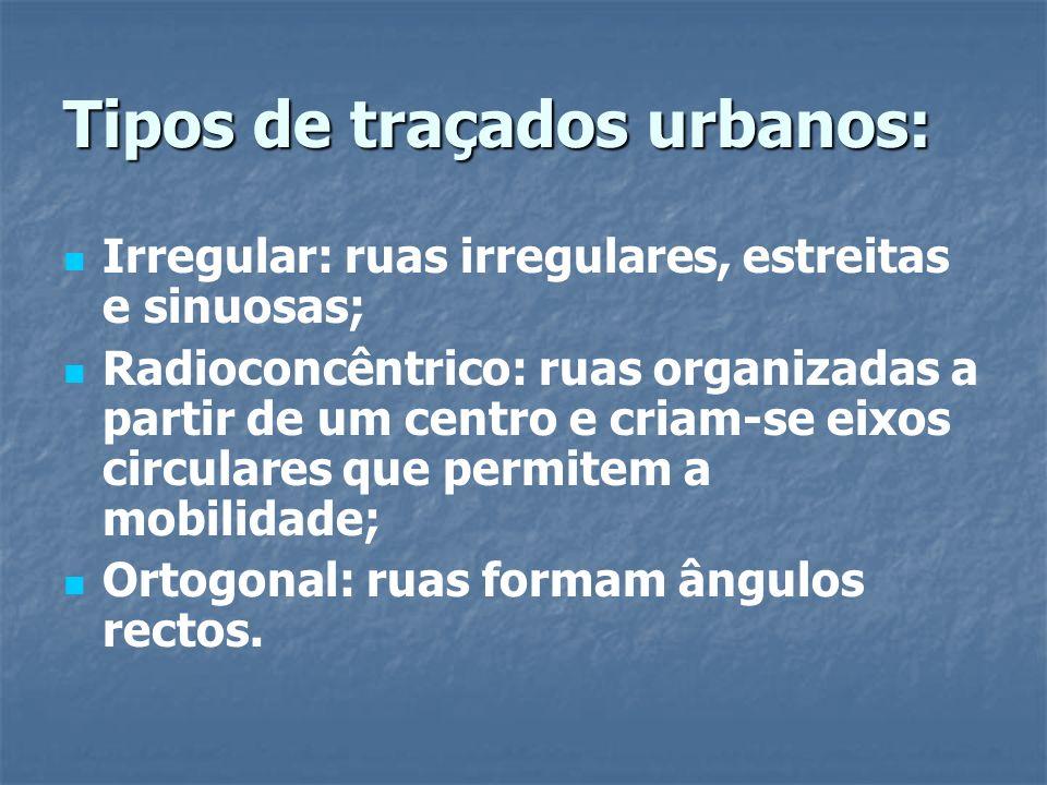 Tipos de traçados urbanos: