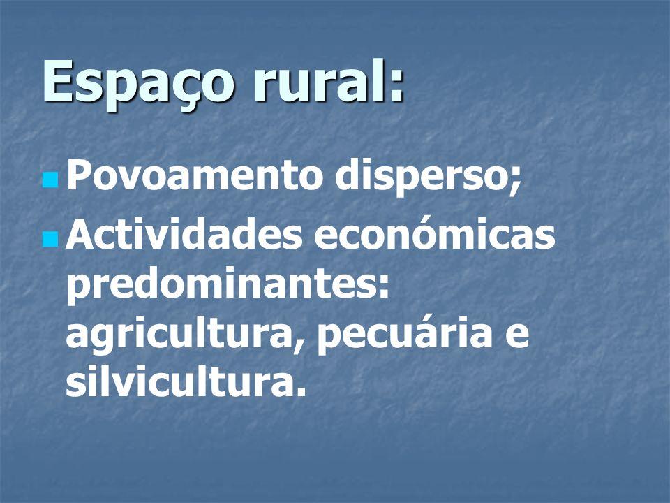 Espaço rural: Povoamento disperso;
