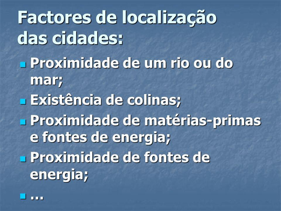 Factores de localização das cidades: