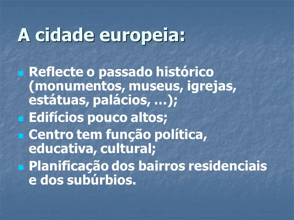 A cidade europeia: Reflecte o passado histórico (monumentos, museus, igrejas, estátuas, palácios, …);