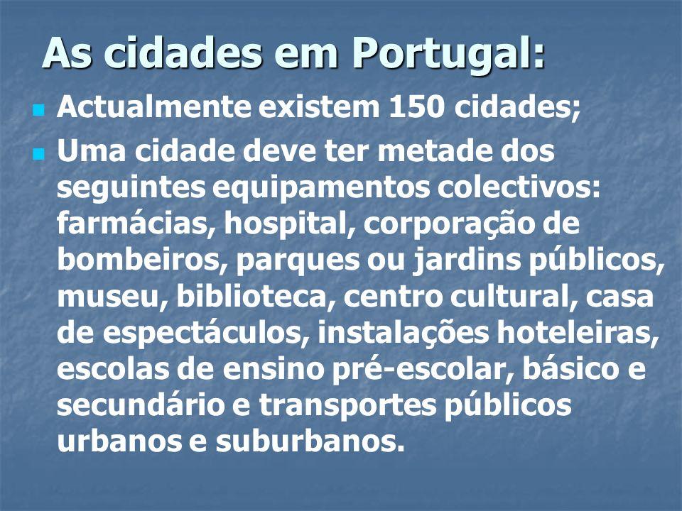 As cidades em Portugal: