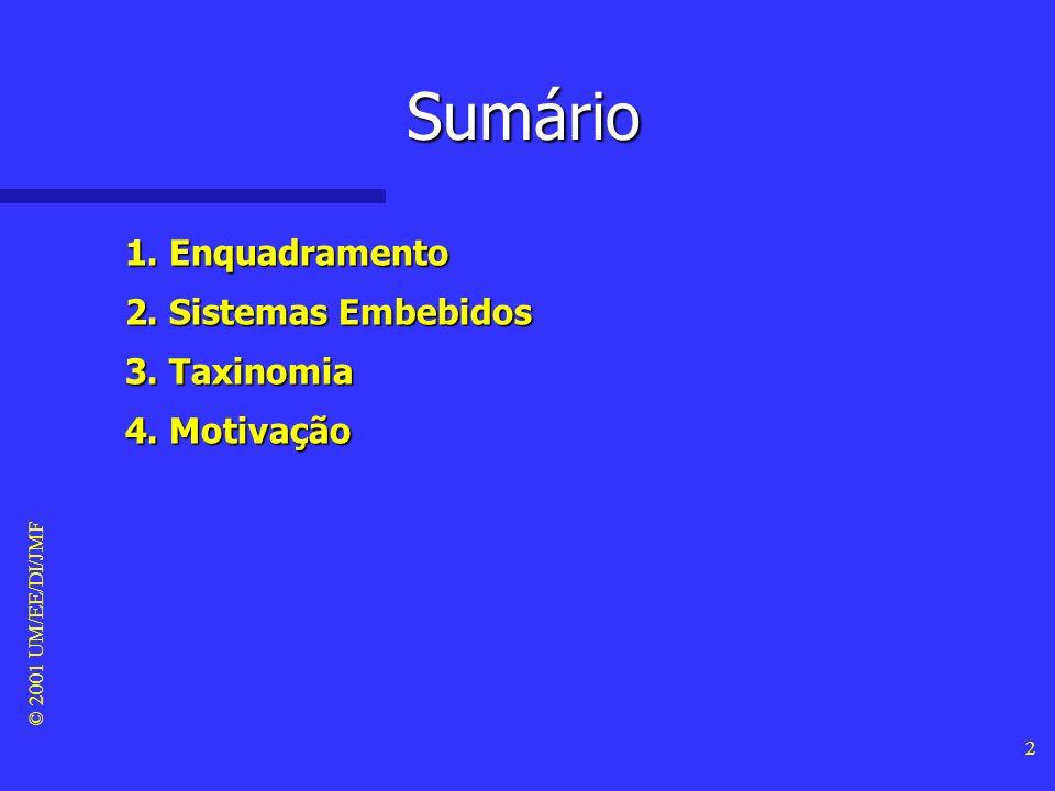 Sumário 1. Enquadramento 2. Sistemas Embebidos 3. Taxinomia