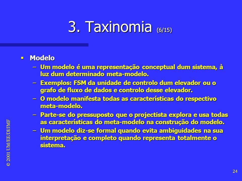 3. Taxinomia (6/15) Modelo. Um modelo é uma representação conceptual dum sistema, à luz dum determinado meta-modelo.