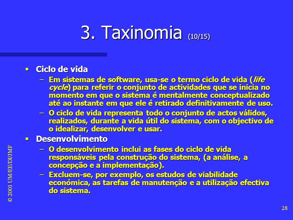 3. Taxinomia (10/15) Ciclo de vida Desenvolvimento