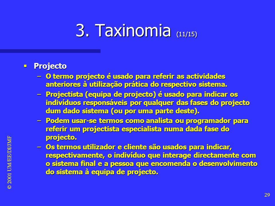 3. Taxinomia (11/15) Projecto