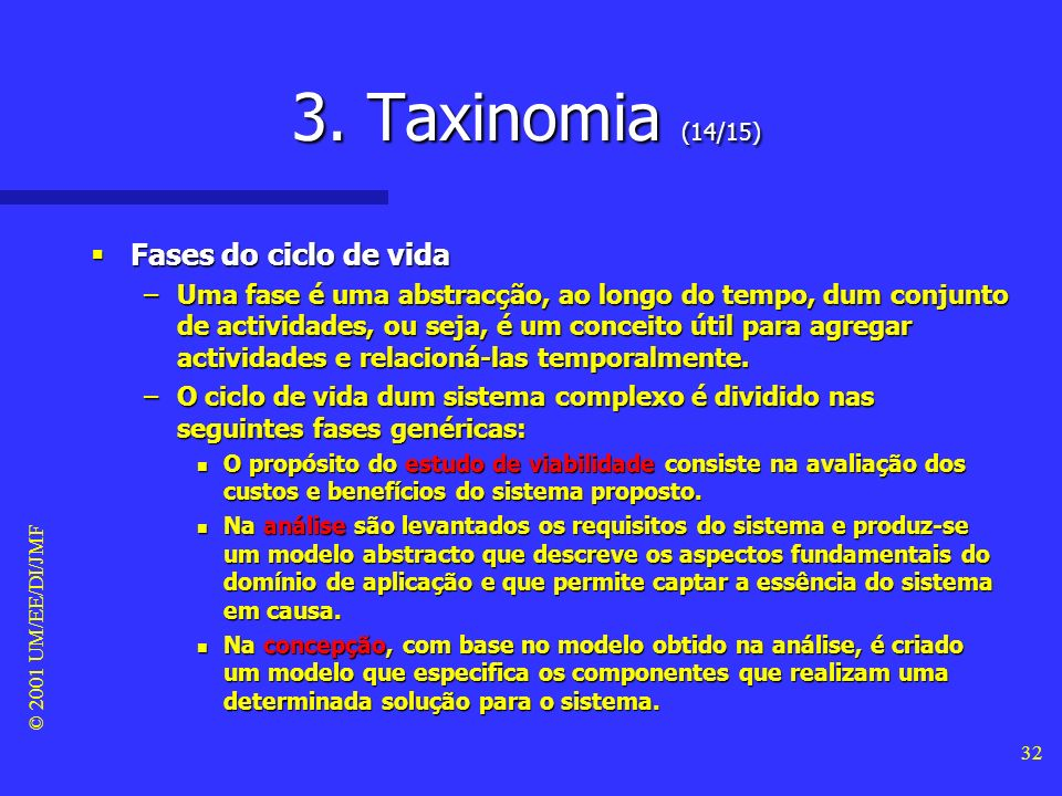 3. Taxinomia (14/15) Fases do ciclo de vida