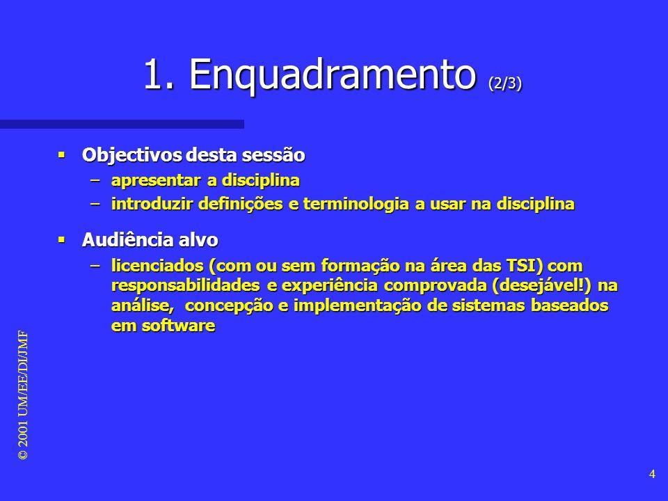 1. Enquadramento (2/3) Objectivos desta sessão Audiência alvo
